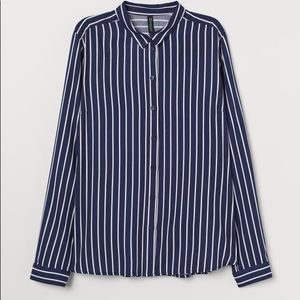 Navy & White Stripped Button Shirt